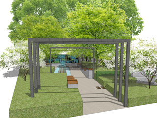 Conceptual Design for RHS Chelsea Aralia Jardins zen Metal Metalizado/Prateado