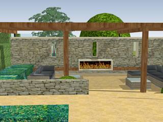Stable House Essex Aralia Jardins zen Pedra Metalizado/Prateado