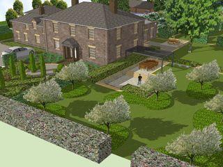 Hertfordshire Country Estate Garden (Braughing) Aralia Jardins de fachadas de casas Pedra Cinza
