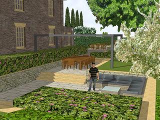 Hertfordshire Country Estate Garden (Braughing) Aralia Jardins zen Metal Metalizado/Prateado