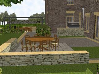 Hertfordshire Country Estate Garden (Braughing) Aralia Jardins zen Pedra Cinza