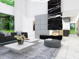 4Q DEKTON Pracownia Architektoniczna Modern living room Marble Grey