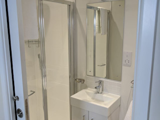 Article By the Garden Room Guide - Choose Offsite Construction Building With Frames Modern Bathroom Tiles White