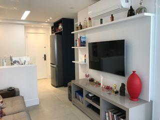 Apartamento Brooklin 3JP Engenharia Salas de estar modernas Madeira Branco