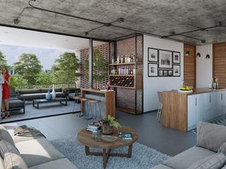 Stuen Arquitectos Ruang Makan Gaya Industrial Beton Grey