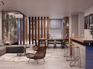 Stuen Arquitectos Ruang Keluarga Modern Kayu Grey