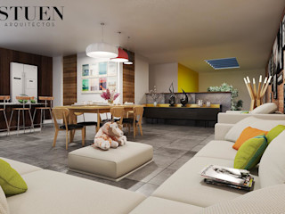 Stuen Arquitectos Ruang Keluarga Modern Keramik Grey