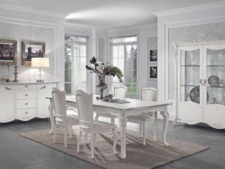"""Wohnzimmer Set """"Viola Bianca"""" in Weiß-Silber Klassische Italienische Möbel SPELS-MÖBEL UG WohnzimmerSchränke und Sideboards Holzspanplatte Weiß"""