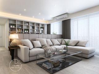 沉靜淺灰元素 自然人文宅邸 - 惠宇清朗 木博士團隊/動念室內設計制作 现代客厅設計點子、靈感 & 圖片 複合木地板 White
