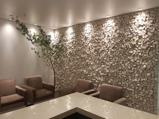 Rebello Pedras Decorativas Salones rústicos de estilo rústico Piedra Blanco