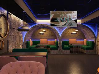 Artichok Design Ruang Komersial Gaya Industrial Granit Brown