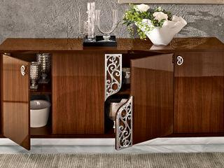 Modernes Esszimmer Wohnzimmer Roma Glamour in Nussbaum Hochglanz SPELS-MÖBEL UG EsszimmerBuffets und Sideboards Holzspanplatte Braun