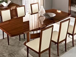 Modernes Esszimmer Wohnzimmer Roma Glamour in Nussbaum Hochglanz SPELS-MÖBEL UG EsszimmerTische Holzspanplatte Braun
