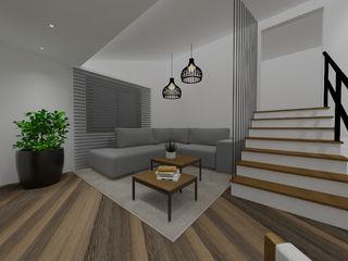 Projeto de interiores sala de estar Cláudia Legonde Salas de estar modernas Madeira Branco