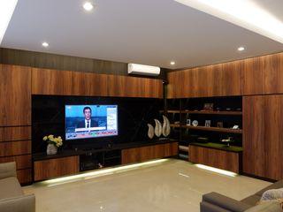 Modern Masculine house Exxo interior Ruang Keluarga Modern Batu Wood effect
