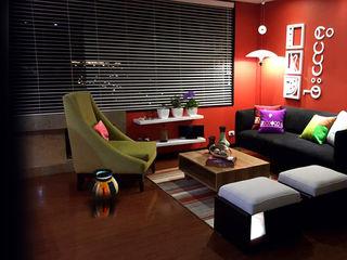 Omar Interior Designer Empresa de Diseño Interior, remodelacion, Cocinas integrales, Decoración Modern Living Room Wood Red
