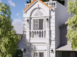 Nhà Phố 1 Trệt 1 Lầu Sân Thượng Sang Trọng Mang Phong Cách Cổ Điển Công ty TNHH TK XD Song Phát Nhà phong cách kinh điển Than củi White