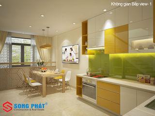 Chiêm ngưỡng thiết kế nội thất trẻ trung bên trong nhà phố 5 tầng Công ty TNHH TK XD Song Phát Phòng ăn phong cách hiện đại Đá hoa
