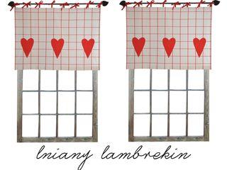 Drewniany Guzik Janelas e portasCortinas e cortinados Linho Vermelho