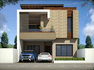 3d view of house Square Design Bungalows Granite Beige