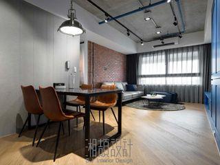 湘頡設計 Industrial style dining room Bricks Red