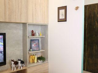 扎西德勒-空間優化的北歐簡約風透天厝 酒窩設計有限公司 Dimple Interior Design 客廳 塑木複合材料 Wood effect
