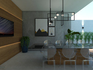 ITOARQUITETURA 陽台、門廊與露臺 配件與裝飾品 水泥 Grey