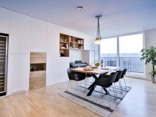 wide living space Isabel Gomez Interiors Endüstriyel Yemek Odası Ahşap-Plastik Kompozit Beyaz