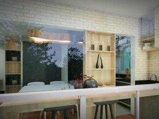 Studio MP Interiores بلكونة أو شرفة MDF Wood effect
