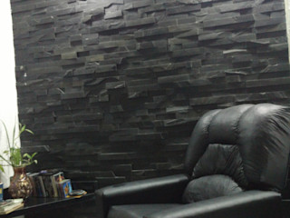 Rebello Pedras Decorativas Salas multimedia de estilo moderno Piedra Negro