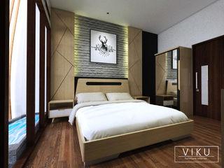 viku 臥室床與床頭櫃 木頭 Brown
