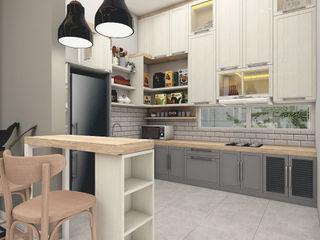 SCANDINAVIAN MOOD DESIGN CASA.ID ARCHITECTS Dapur built in Kayu Buatan Grey