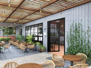 Studio Gritt Bar & Club in stile asiatico Legno massello Grigio
