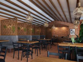 Studio Gritt Bar & Club in stile asiatico Cemento Marrone