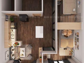 THIẾT KẾ NỘI THẤT CĂN HỘ 62M2 CỦA ANH KHANH Ở CĂN HỘ VINHOME CENTRAL PARK_QUẬN BÌNH THẠNH Công ty Cổ Phần Nội Thất Mạnh Hệ Phòng khách Wood effect