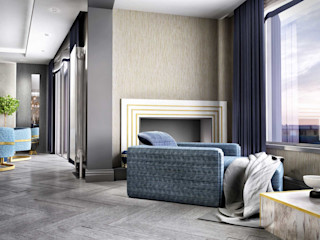 ANTE MİMARLIK Living roomFireplaces & accessories Blue