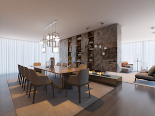 CASA MARQUES INTERIORES Dining roomLighting Marble