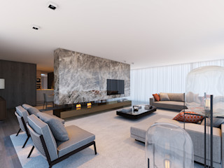CASA MARQUES INTERIORES Living roomFireplaces & accessories Marble