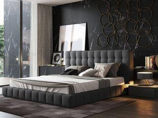 Decordesign Interiores СпальняЛіжка та спинки Текстильна Сірий