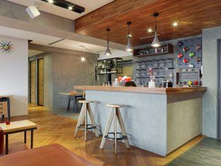 直方設計有限公司 Soggiorno in stile industriale Effetto legno