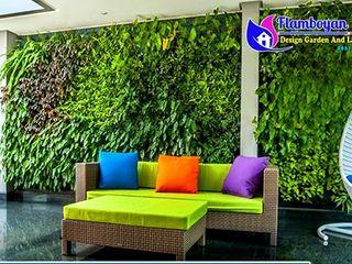 10 Gambar Desain Taman Vertikal (Vertical Garden) Tukang Taman Surabaya - flamboyanasri Bangunan Kantor Modern Besi/Baja Metallic/Silver