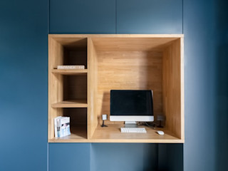 Anne Lapointe Chila Modern Study Room and Home Office Wood Blue