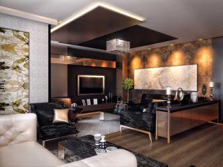 ANTE MİMARLIK Modern living room Black