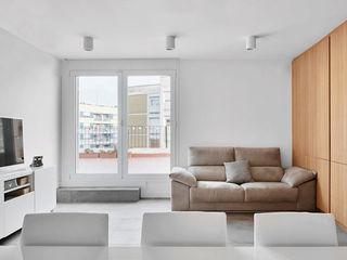 Reubicación Luxiform Iluminación Salones de estilo escandinavo Blanco