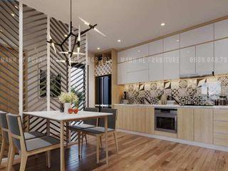 THIẾT KẾ NỘI THẤT CHUNG CƯ 73M2 – ANH TIẾN THỦ DẦU MỘT BÌNH DƯƠNG Công ty Cổ Phần Nội Thất Mạnh Hệ Phòng ăn phong cách hiện đại Wood effect