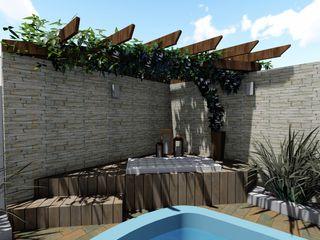 Projeto de paisagismo Cláudia Legonde Piscinas de jardim Madeira Efeito de madeira