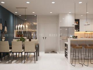 THIẾT KẾ CĂN HỘ HIỆN ĐẠI DRAGON HILL 2 - 71M2 CHO ANH THIÊN Công ty Cổ Phần Nội Thất Mạnh Hệ Phòng ăn phong cách hiện đại White