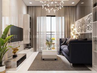 THIẾT KẾ CĂN HỘ HIỆN ĐẠI DRAGON HILL 2 - 71M2 CHO ANH THIÊN Công ty Cổ Phần Nội Thất Mạnh Hệ Phòng khách White