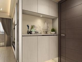 系統家具搭配鐵件 玩轉出時尚機能宅 木博士團隊/動念室內設計制作 現代風玄關、走廊與階梯