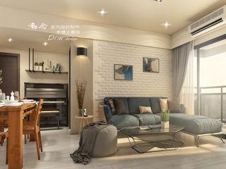 系統家具搭配鐵件 玩轉出時尚機能宅 木博士團隊/動念室內設計制作 现代客厅設計點子、靈感 & 圖片